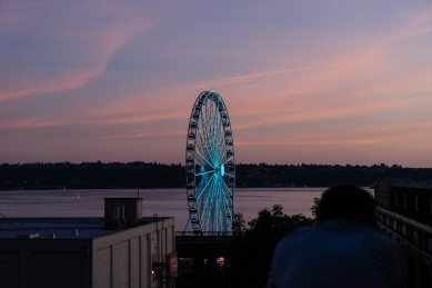 Seattle, Cityscape, Seascape, Mt. Rainier, Ferris Wheel