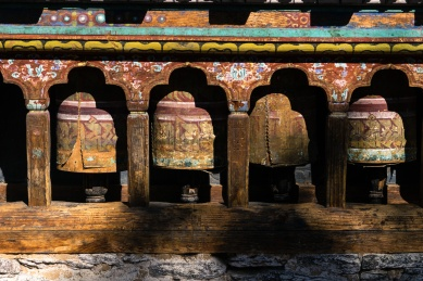 Pictures of Prayer Wheels at Gangtey Monastery in Wangdue Bhutan by mcmessner Mary Catherine Messner