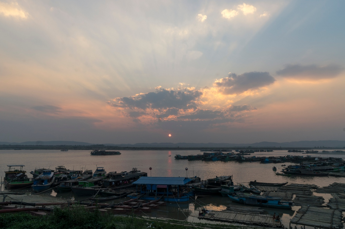 Sunset over Irrawaddy River