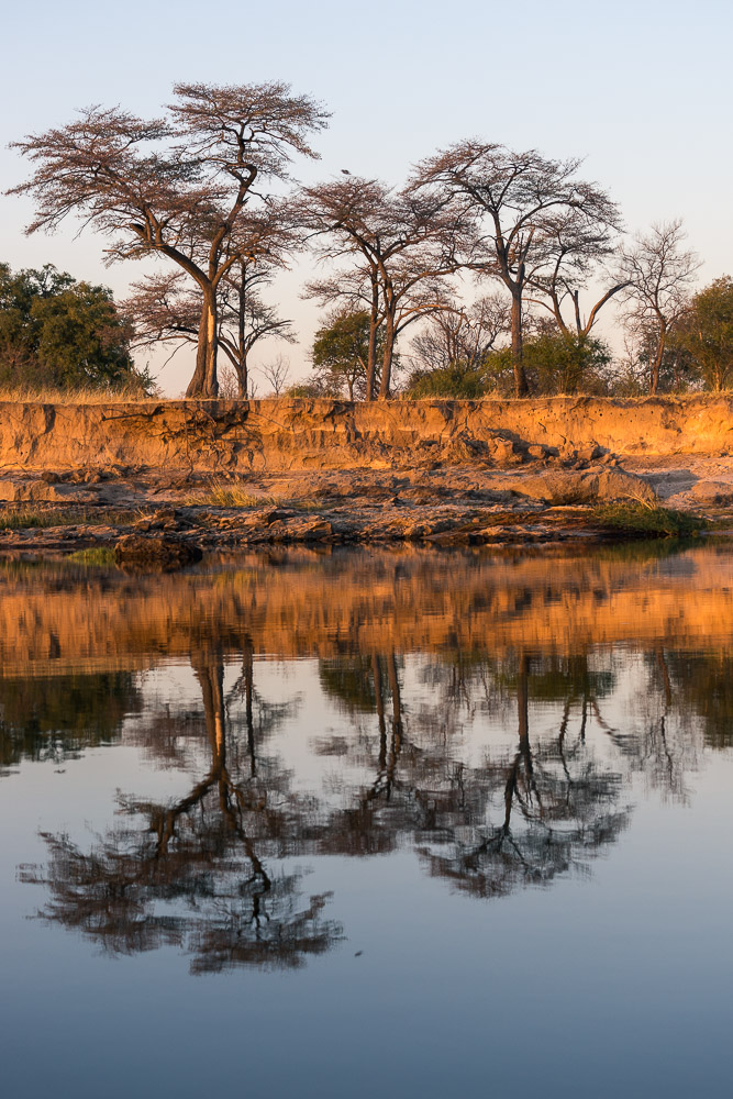 Picture of blue sky reflections on Zambezi River, Zambia, Africa while on the 2016 Passport to Folk Art: South Africa trip with BJ Adventures