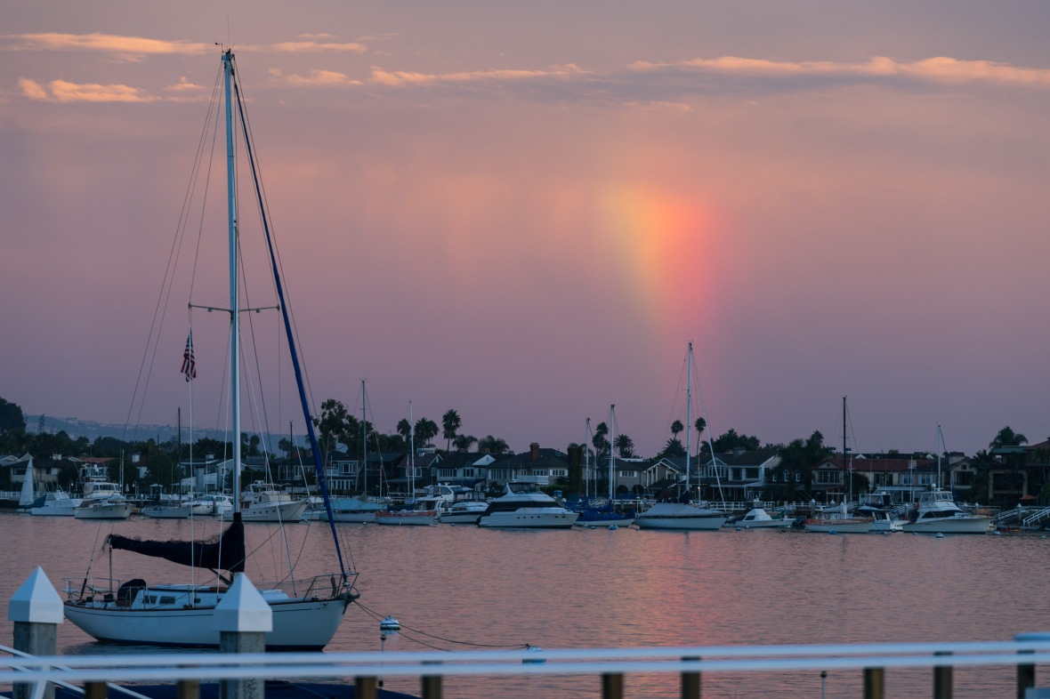 Picture of Rainbow Sunset on Balboa Island, Newport Beach, California, USA.