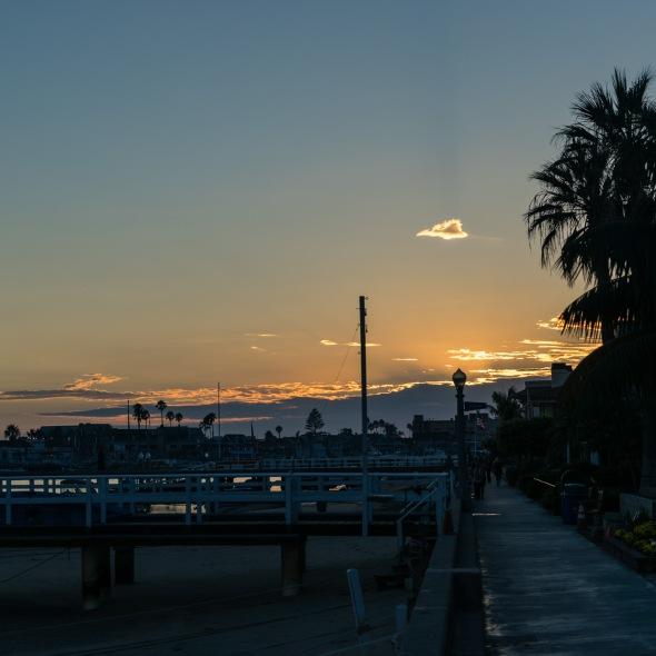 Picture of Sunset on Balboa Island, Newport Beach, California, USA.