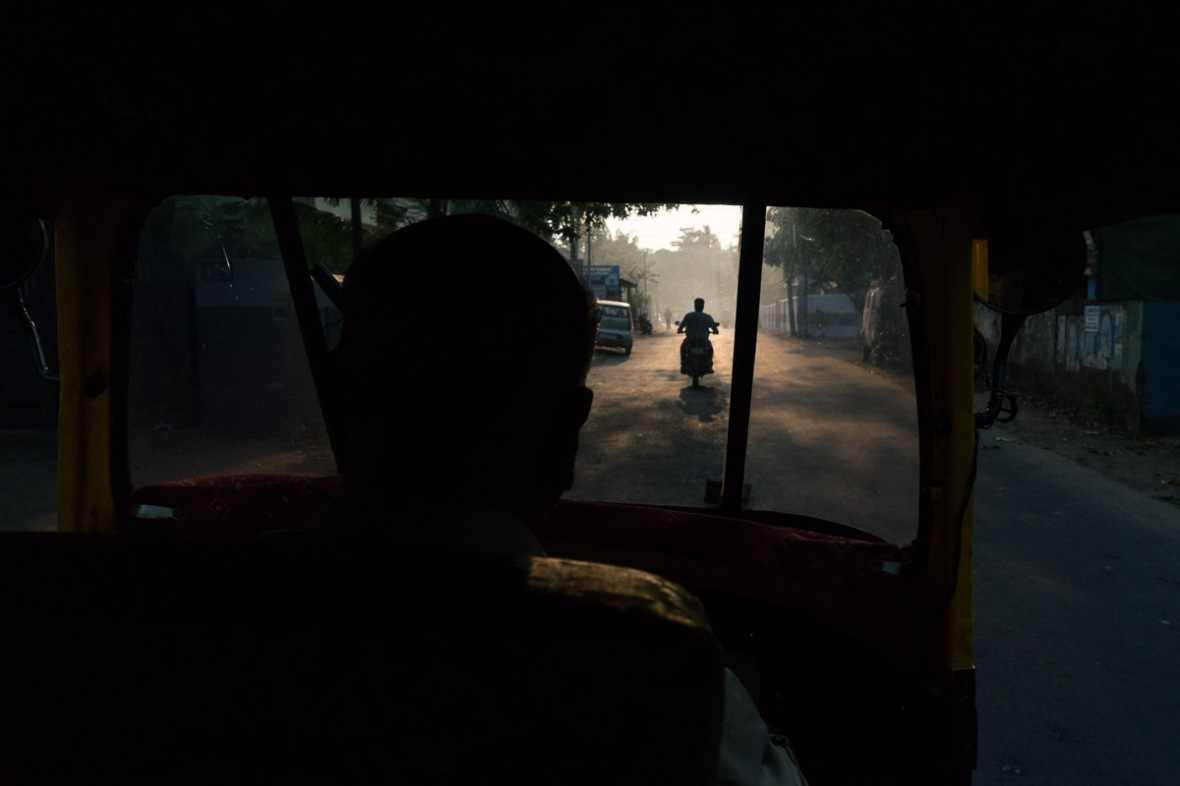Picture of view from inside a tub-tuk in Kollam, Thrissur, Cochin, Kerala, India by mcmessner Mary Catherine Messner