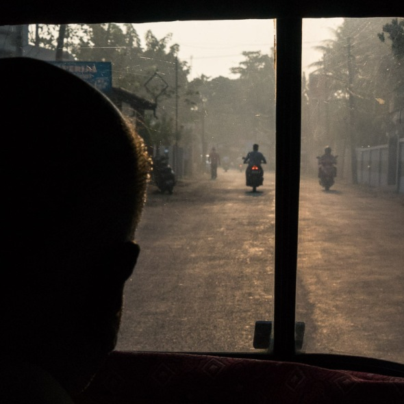 Picture of view from inside tuktuk in Kollam, Thrissur, Cochin, Kerala, India by mcmessner Mary Catherine Messner