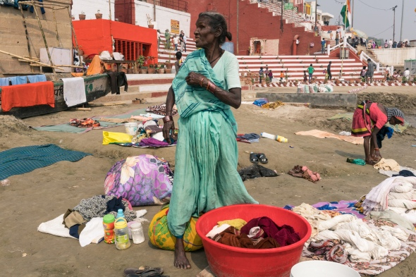 Travel picture of clothes washer woman portrait in Varanasi India during Workshop 2017 with Maciej Dakowicz by mcmessner Mary Catherine Messner.