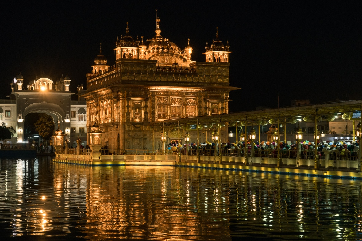 Travel pictures of the Golden Temple in Amritsar Punjab India  at night during VPD Workshop 2017 with Maciej Dakowitz by mcmessner Mary Catherine Messner.
