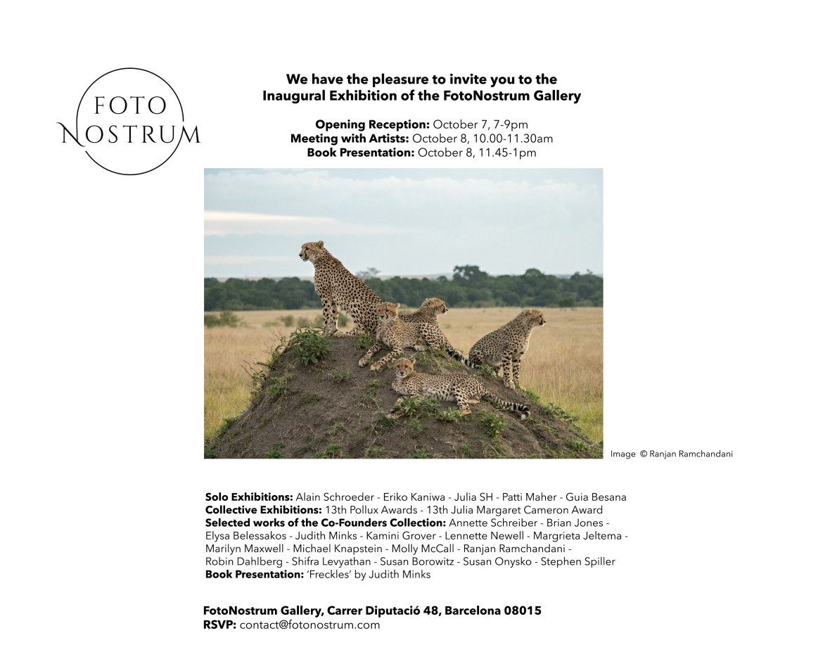 Invitation to the Julia Margaret Cameron Awards, group exhibition at FotoNostrum in Barcelona Spain.